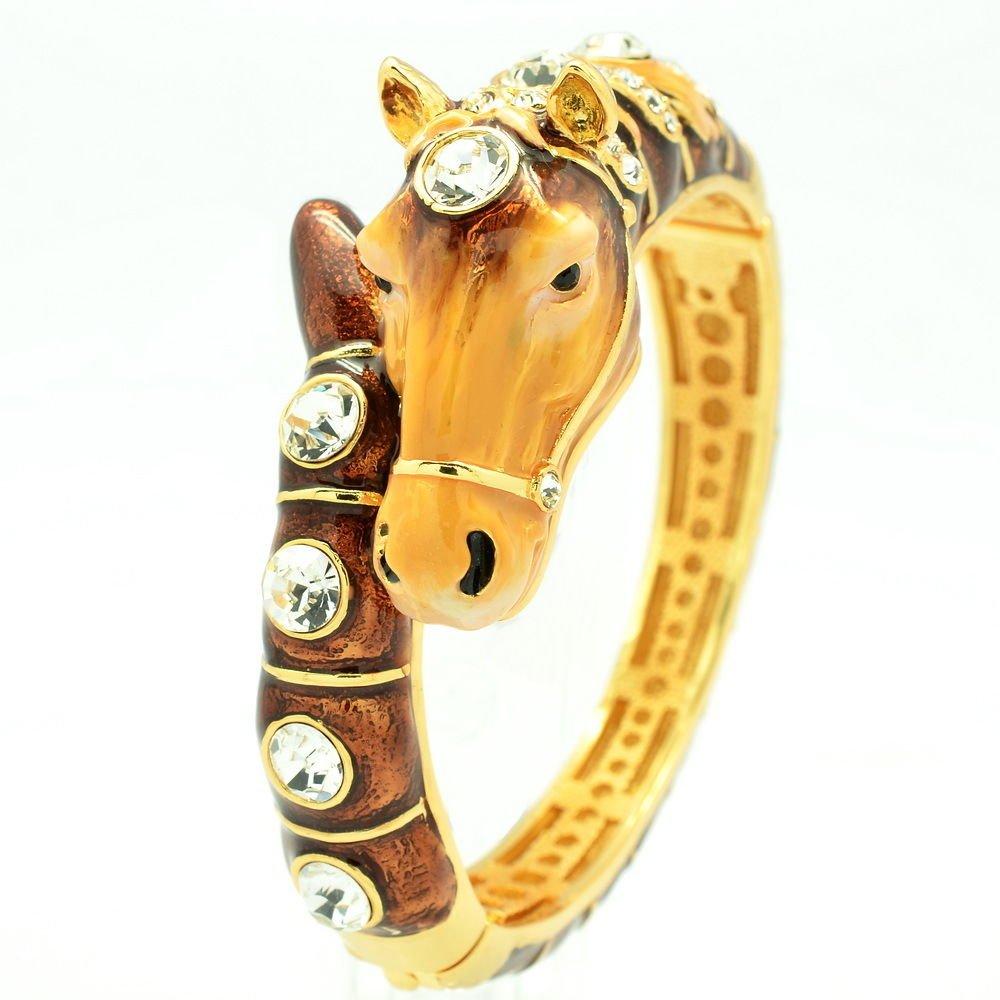 Brown Enamel Horse course Bracelet Bangle Women Jewelry Swarovski Crystals 2274L