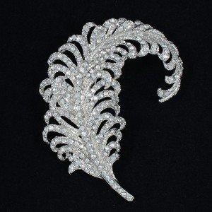 """Silver Tone Feather Brooch Brooch Pin 3.1"""" W/ Clear Rhinestone Crystals 5065"""