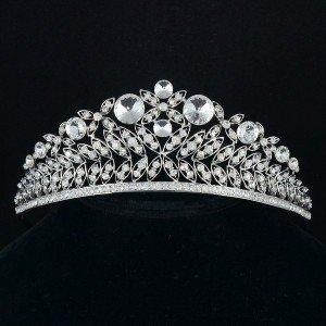 Silver Tone Wedding Leaf Flower Tiara Crown Headband W/ Clear Rhinestone Crystal