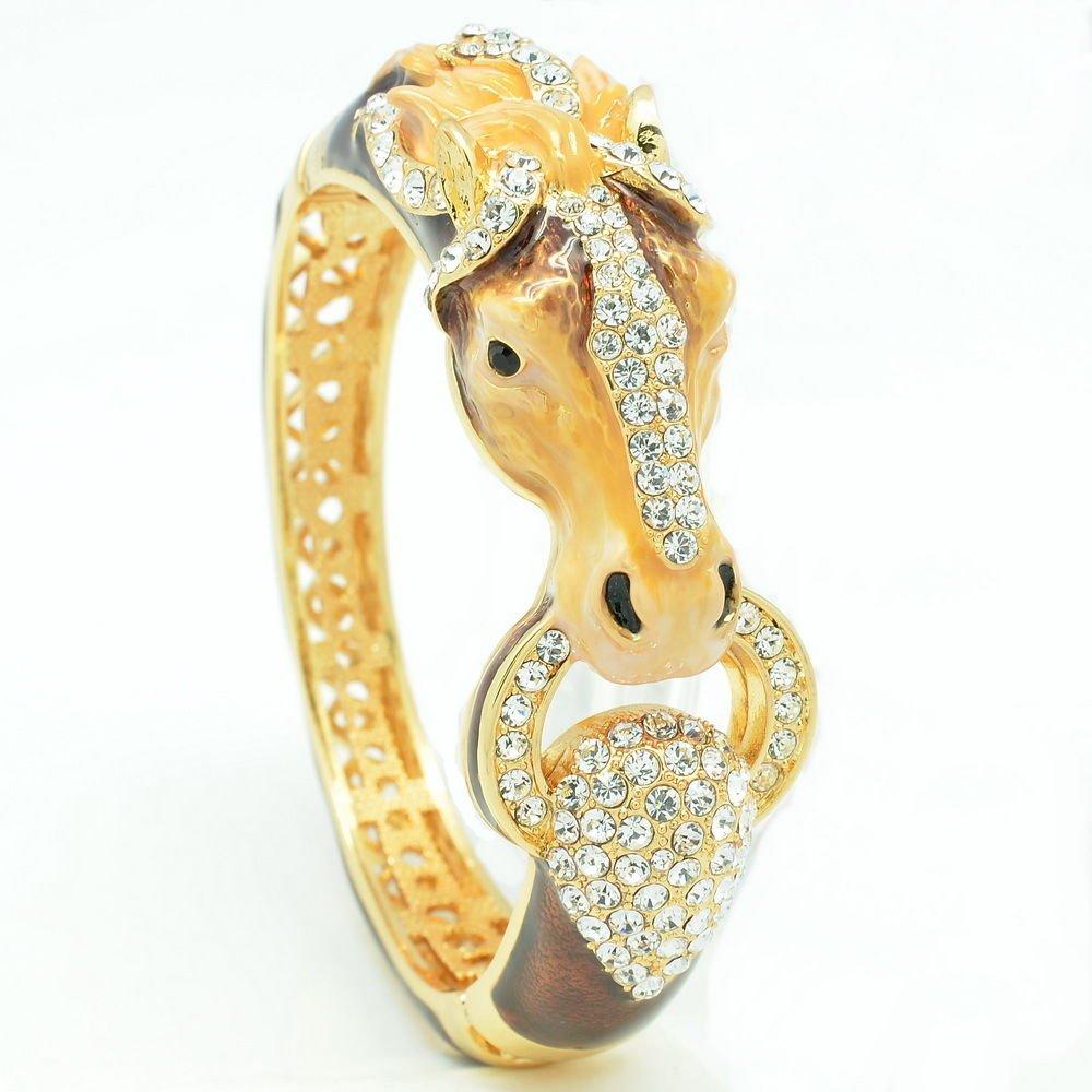 Rhinestone Crystal Brown Enamel Horse Bronco Bracelet Bangle Women Jewelry 2227L