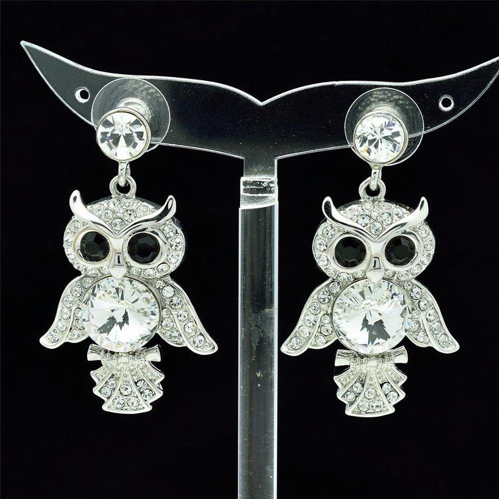 High Quality  Swarovski Crystals Clear Animal Owl Pierced Earring w/ SEA0869