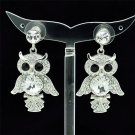 High Quality  Swarovski Crystals Clear Animal Owl Pierced Earring w/ SEA0869
