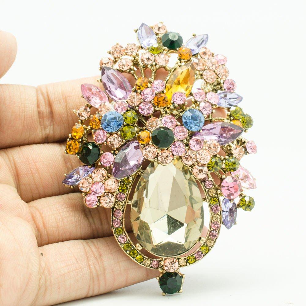 Vintage Style Multicolor Rhinestone Crystals Drop Flower Brooch Broach Pins 5844