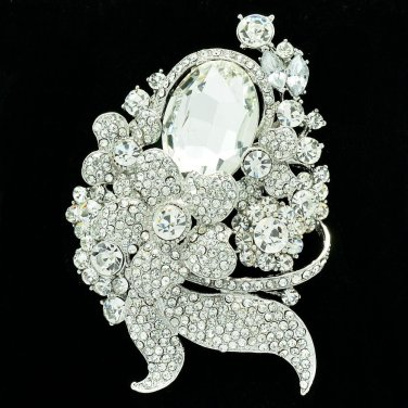 Clear Flower Brooch Hat Pin Swarovski Crystal Accessories Jewelry For Party 6409