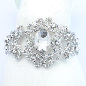 Rhinestone Crystals Vogue Bridal Clear Flower Bracelet Chain For Wedding 6578