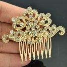Cute Golden Tone Rhinestone Crystal Flowers Hair Comb Headband For Women XBY019