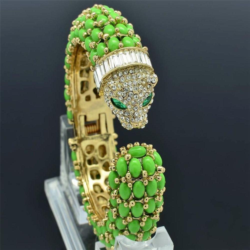 Excellent Green Acrylic Leopard Bracelet Bangles Cuff Rhinestone Crystals 01009
