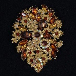 "Retro Drop Rhinestone Crystals Flower Brooch Broach Pin Pendant  3.9"" Topaz"