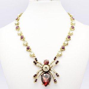 Halloween Spider Necklace Pendant Purple Rhinestone Crystal Insect Animal
