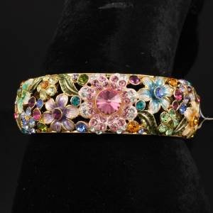 High Quality Enamel Flower Bracelet Bangle Cuff W Swarovski Crystals 6 Colors