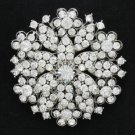 """Bridal Round Flower Brooch Pin 2.2"""" w/ Clear Rhinestone Crystal Wedding 4876"""
