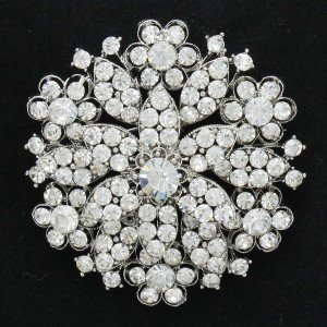 "Bridal Round Flower Brooch Pin 2.2"" w/ Clear Rhinestone Crystal Wedding 4876"