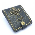Black Men's Cross Punk Stitch Cool PU Wallet Rivets Leather 1y14-48