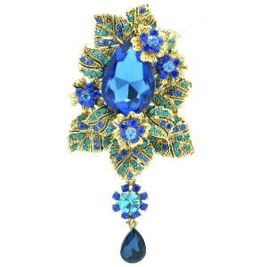 Blue Flower Leaves Brooch Broach Pendant Pin W/ Rhinestone Crystals 6176