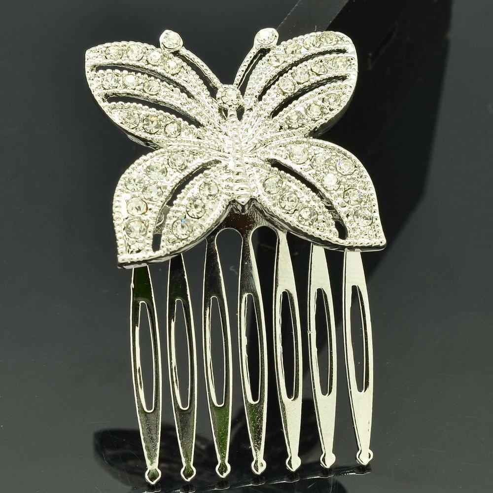 Sliver Tone Rhinestone Crystal Butterfly Hair Comb Headband Women Jewelry XBY054