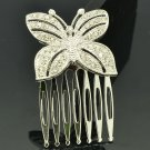 Sliver Tone Rhinestone Crystal Butterfly Hair Comb Headband Women Jewelry XBY054
