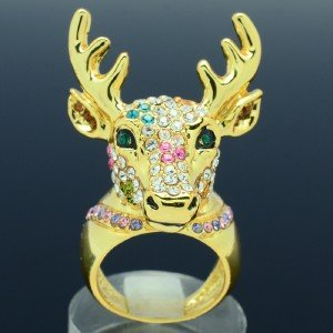 Pretty Cute Deer Cocktail Ring Size 8#  Mix Swarovski Crystals Gold Tone Animals