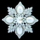 Wedding Faux Pearl Leaf Flower Brooch Broach Pin W/ Clear Rhinestone Crystals