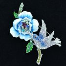 Noble Enamel Flower Hummingbird Brooch Broach Purple Swarovski Crystal SBA4510