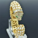 Excellent White Acrylic Leopard Bracelet Bangles Cuff Rhinestone Crystals 01009