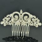 Sliver Tone Rhinestone Crystal Symmetry Palace Flowers Hair Comb Headband XBY058