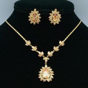Teardrop Topaz Zircon Floral Flower Necklace Earring Jewelry Sets High Quality