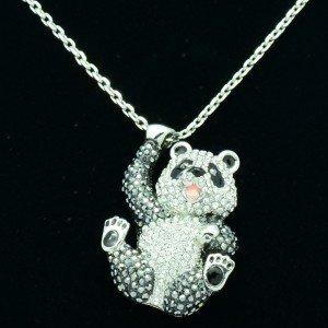 H-Quality Animal Kung Fu Panda Pendants Necklace Clear Swarovski Crystals
