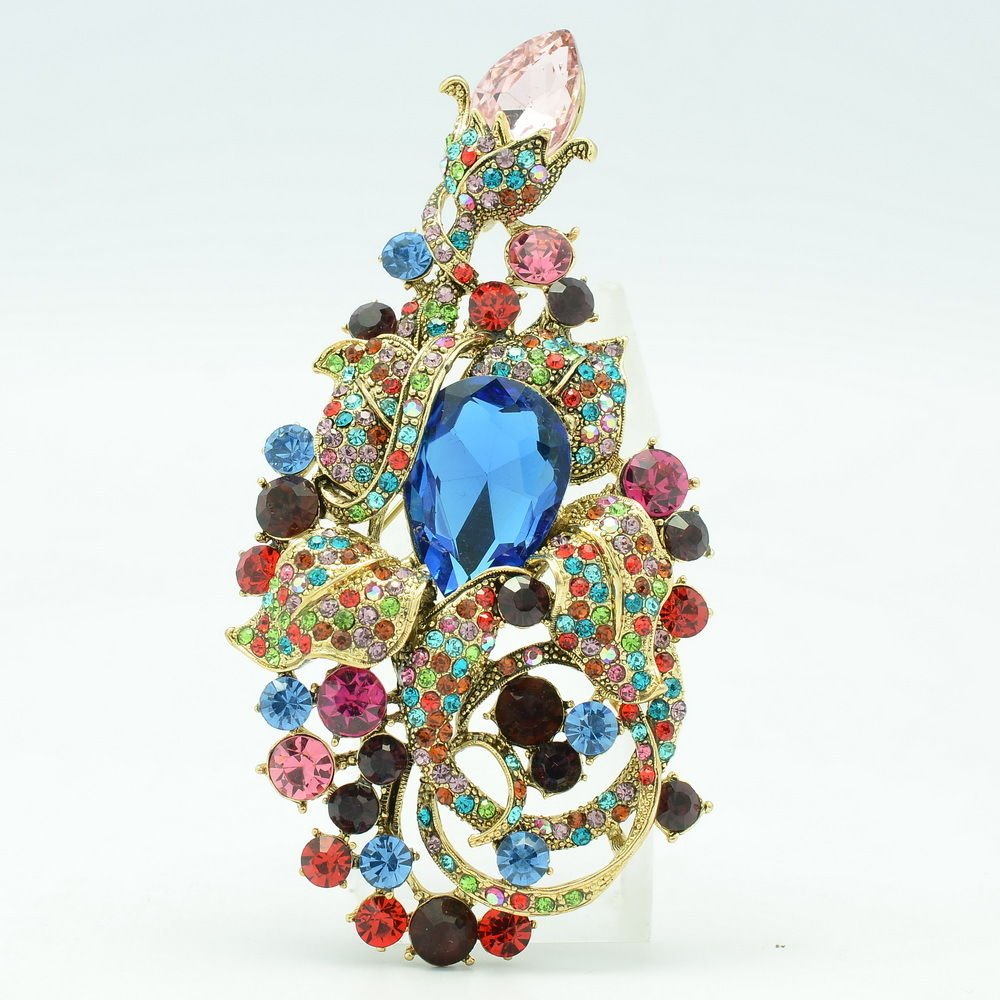 Vintage Multicolor Flower Brooch Hat Pin Costume Jewelry Rhinestone Crystal 6406