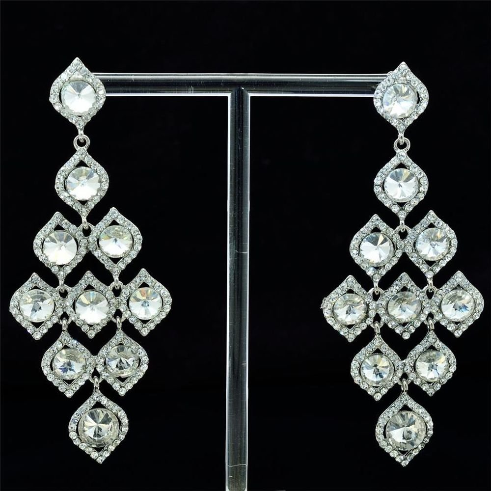 Trendy Clear Rhinestone Crystals Drop Leaf Flower Pierced Earring Dangle 122418