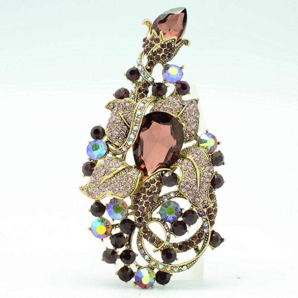 Elegant Women Costume Jewelry Purple Flower Brooch Pins Rhinestone Crystals 6406