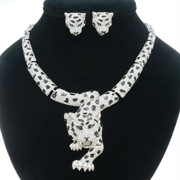 Swarovski Crystal High Quality Animal Clear Panther Leopard Necklace Earring Set