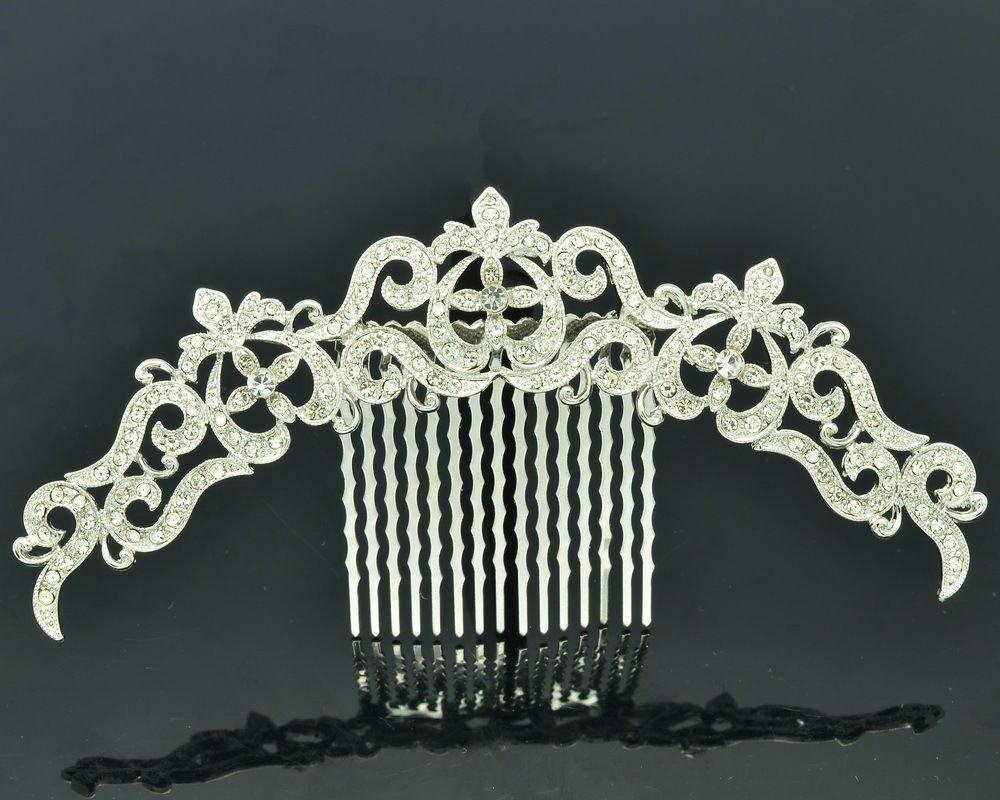 Clear Rhinestone Crystal Palace Flower Hair Comb Headband Wedding Bridal XBY077