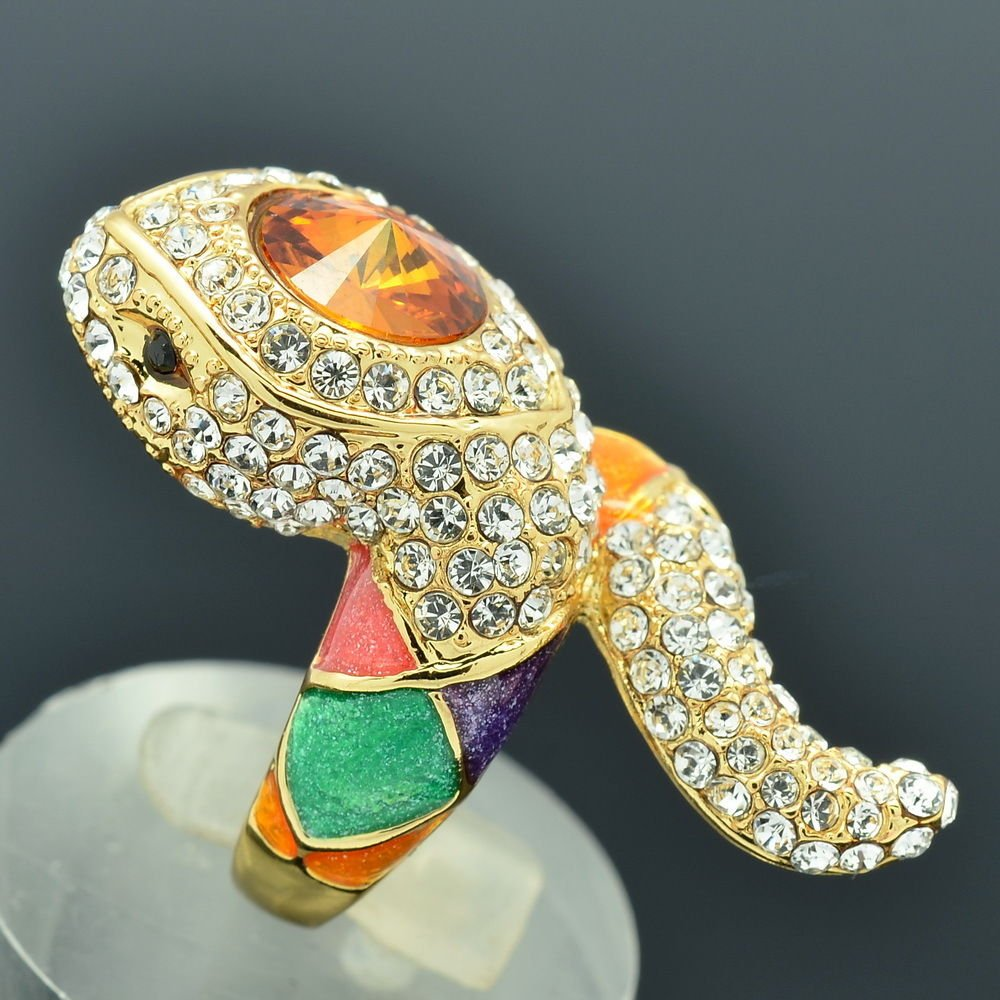 New 2014 Swarovski Crystal Multi-Color Enamel Snake Cocktail Ring Sz 8# SRA2173