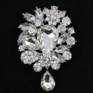 "Hot Flower Brooch Broach Pin 3.1"" Bridal Wedding Jewelry Rhinestone Crystal 3857"