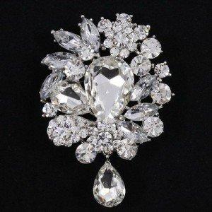 """Hot Flower Brooch Broach Pin 3.1"""" Bridal Wedding Jewelry Rhinestone Crystal 3857"""
