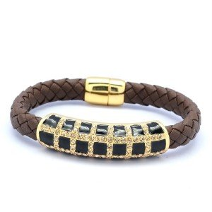 Synthetic Leather Black Enamel Bracelet Bangle W/ Topaz Swarovski Crystals