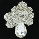 Clear Flower Brooch Pendant Broach Pin W/ Rhinestone Crystals 6175