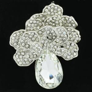 Clear Flower Brooch Pendant Broach Pin W/ Rhinestone Crystals 6175