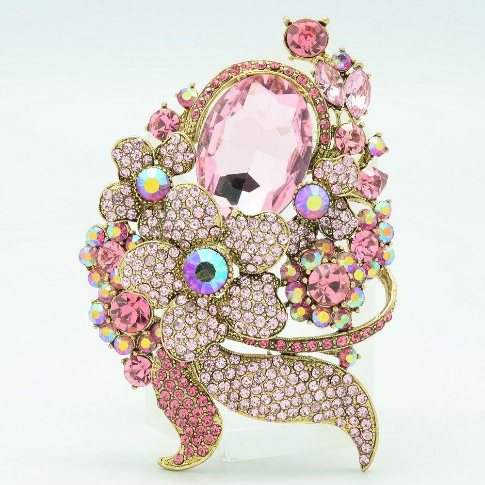 Pretty Pink Flower Brooch Pins Women Accessories Party Rhinestone Crystals 6409