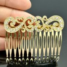 Women Accessories Rhinestone Crystals Palace Flower Hair Comb Golden Tone XBY044