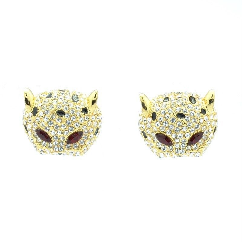 H-Quality Clear Swarovski Crystals Panther Leopard Pierced Earring W/ Gold Tone