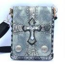 Snake Texture Jesus Punk Skeleton Skull PU Leather Handbag Shoulder Bag W/ Cross