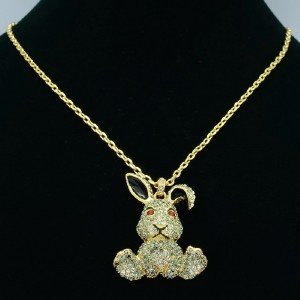 H-Quality Cute Rabbit Bunny Necklace Pendant w/ Gray Swarovski Crystals
