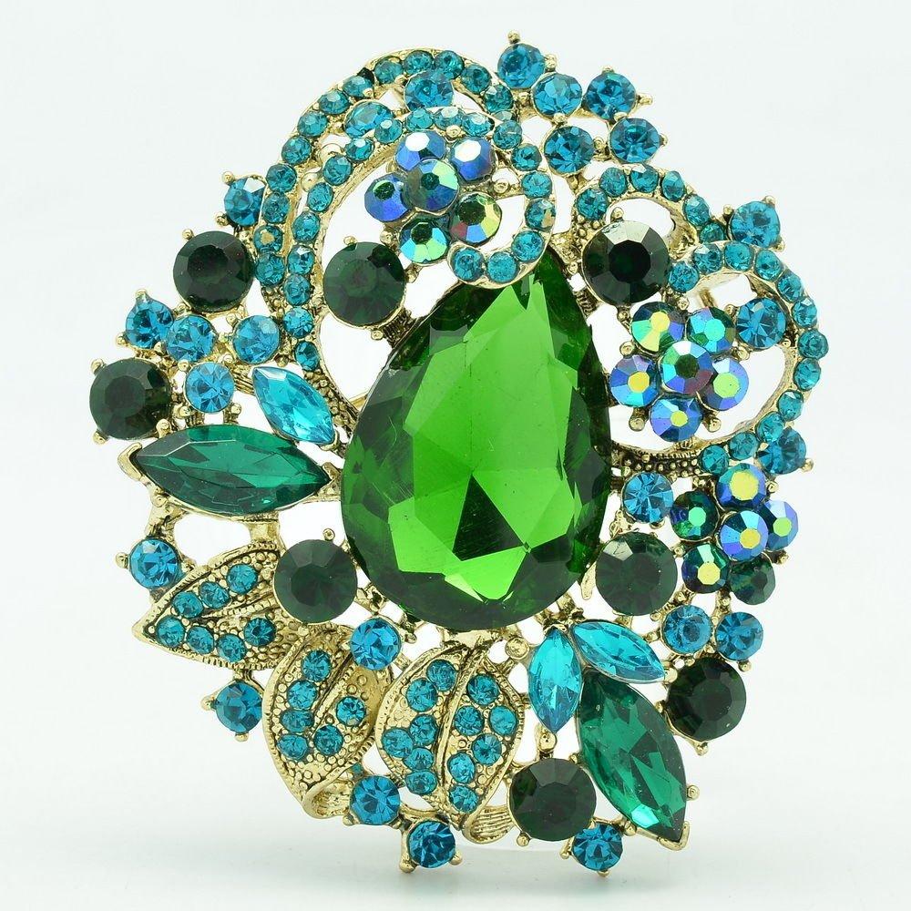 Jade Green Flower Brooch Hat Pin Rhinestone Crystal Women's Spring Jewelry 5830