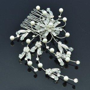 White Imitation Peral Claer Swarovski Crystals Leaf Flower Hair Comb For Wedding