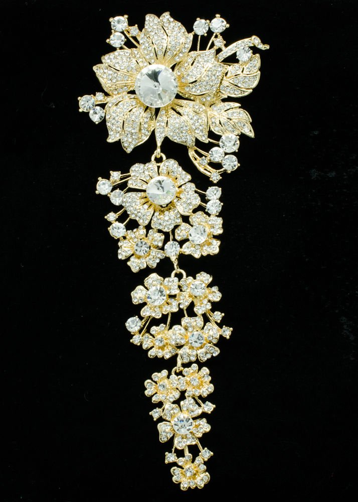 Trendy Long Flower Brooch Broach Pin Women Party Jewelry Rhinestone Crystal 4704