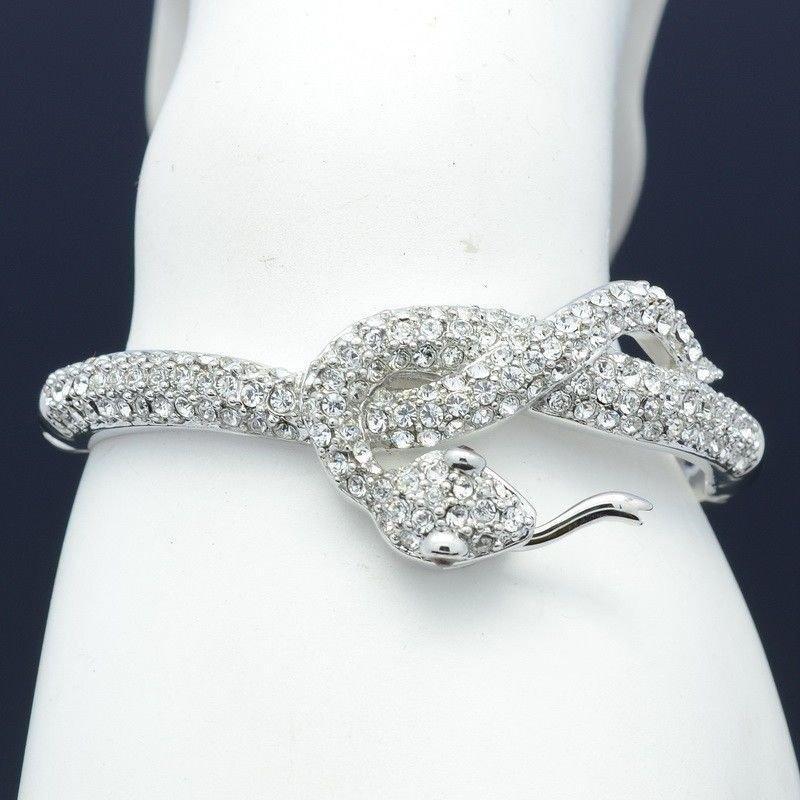 High Quality Swarovski Crystals Clear Animal Snake Bracelet Bangle Cuff 043010