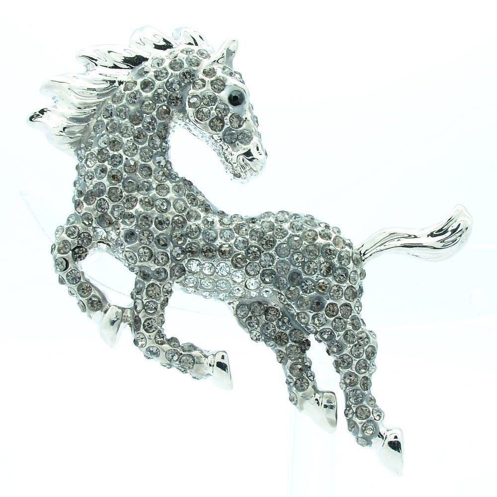 Luxury Running Animal Horse Brooch Broach Pin Black Rhinestone Crystals FA3171