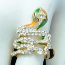 H-Quality Clear Swarovski Crystals Animal Enamel Cobra Snake Cocktail Ring 7#