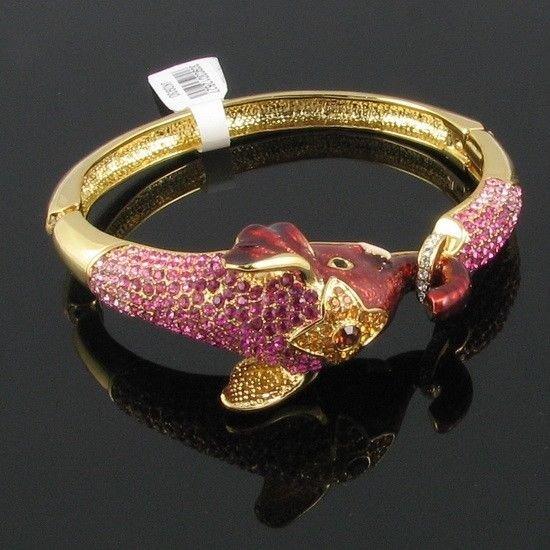 Dazzling Animal Enamal Pink Elephant Bracelet Brangle Cuff w/ Swarovski Crystals